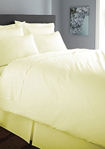 Musbury Polycotton Caravan Shaped Left/Right Cut Off Duvet Cover With Zip 198/198cm (78/78in) Lemon