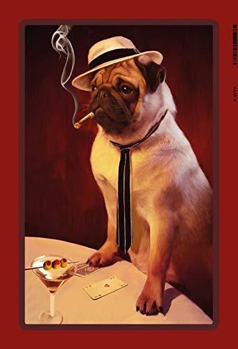 FS Mops met hoed op pokertafel, cocktail, sigarillo blikken bord gebogen metalen sign 20 x 30 cm