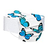OEIGCI 50pc Adults Disposable Face Covering Fashion Butterfly Printed Bandana_Covering,3 Ply Non-Woven Dustproof Protection Breathable Covering Màsc for Outdoor Acticvities