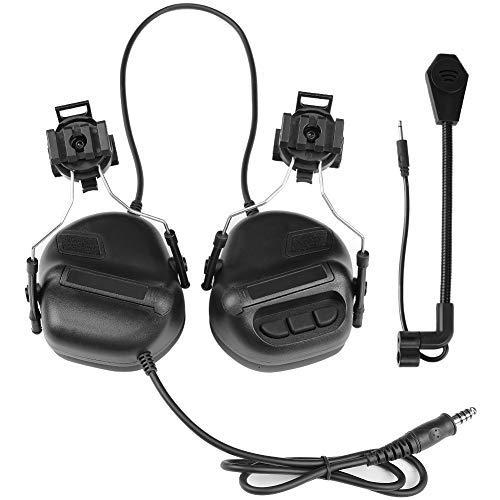 ATAIRSOFT Tactical Headset Kopfhörer mit Mikrofon Wasserdicht ohne Rauschunterdrückungsfunktion Schwarz