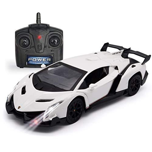 QUN FENG Fernbedienung RC CAR Rennwagen Kompatibel mit Lamborghini Veneno 2.4G 1:24 Toy RC Cars Modellfahrzeug für Jungen 6,7,8 Jahre, Weiß
