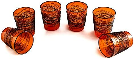 YourMurano, Juego de vasos de cristal de Murano, Decoración de color Naranja, Negro, Seis vasos, Halloween, Juego de cristalería, Hecho a mano, Web