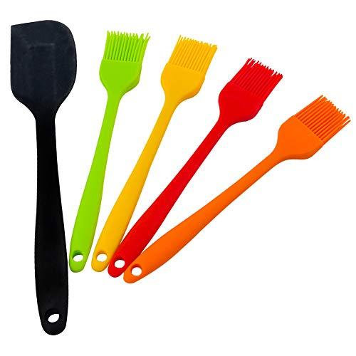 HAKACC Backpinsel Silikon, 4er Grillpinsel mit Silikon Spatel Teigschaber Öl Soße Butter Marinaden für BBQ Grill Backküche Kochen