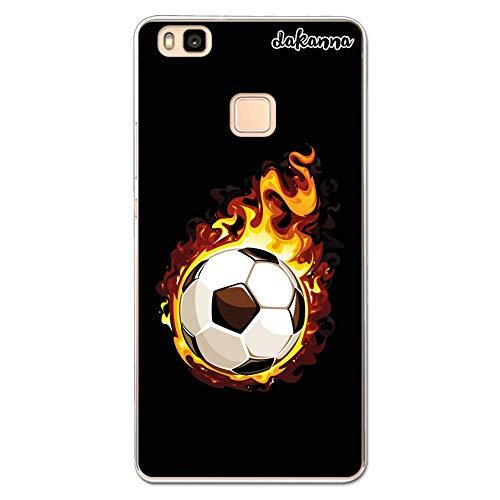 dakanna Custodia per Huawei P9 Lite | Pallone di Football in Fiamme | Cover in Gel di Silicone TPU Morbido di Alta qualità Trasparente