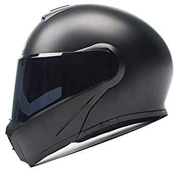 Motorcycle Modular Flip-up Helmet DOT and ECE Approved - YEMA YM-929 Motorbike Casco Moto Moped Street Bike Racing Helmet with Sun Visor Bluetooth Space for Adult,Youth Men and Women - Matte Black,XL