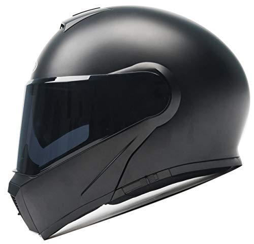 Motorcycle Modular Flip-up Helmet DOT And ECE Approved - YEMA YM-929 Motorbike Casco Moto Moped Street Bike Racing Helmet with Sun Visor Bluetooth Space for Adult,Youth Men and Women - Matte Black,XXL