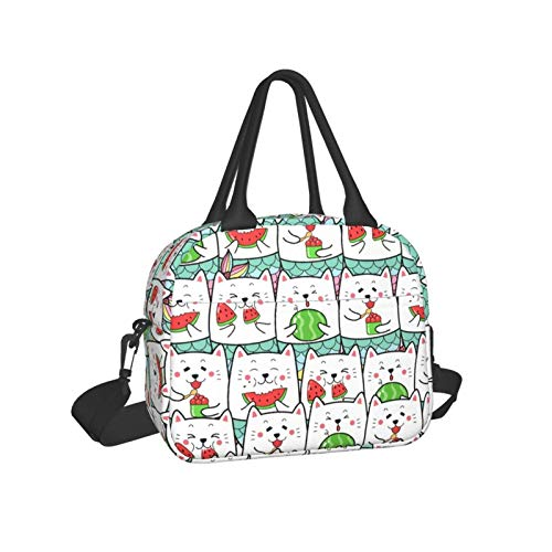 Cat Mermaid Eating Water Melon Hand - Held Lunch Bag Wide-Open Lunch Box Water-Resistant Leakproof Lunch Tote Bag for Women and Men