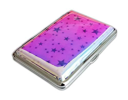 ZIGARETTENETUI für 20/12 Zigaretten Leder Glanz Etui Zigarettenbox Zigarettendose Dose Case Box 6-Varianten Geschenk 33 (Pink für 12 Zigaretten)