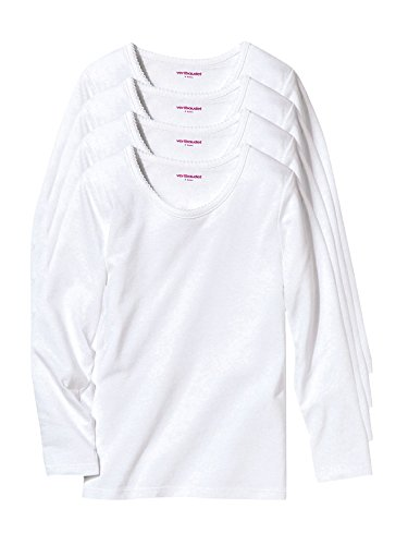 Vertbaudet 4er-Pack Langarm-Shirts für Mädchen weiß 128
