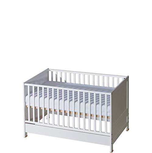 Kinderbett, Babybett 70x140, ohne matratze | Hohe Qualität Rausfallschutz Bett | Babybett Mitwachsend | Weiß, Universal Jugendbett - Mädchen&Jungen&Baby | Modern, Praktisch Bett von ATB für Kinder