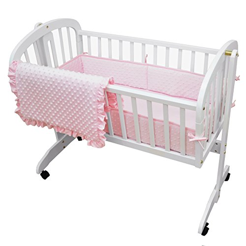 American Baby Company Heavenly Soft Minky Dot 3-Piece Cradle Bedding Set, Pink, for Girls