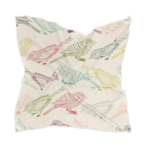 XiangHeFu hoofddoek bont dier handgetekende vogel naadloos patroon chiffon dunne dame scharren hoofddeksel zijdesjaal
