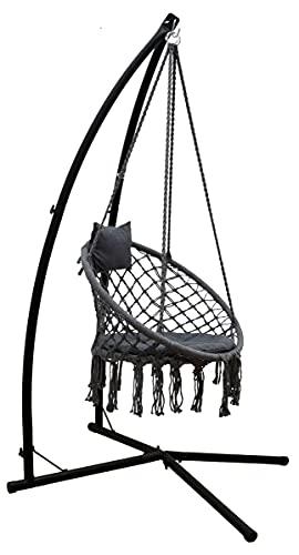 AMANKA 215 cm Telaio per Sedia Sospesa con Poltrona Macramé - Struttura in Metallo fino a 120 kg