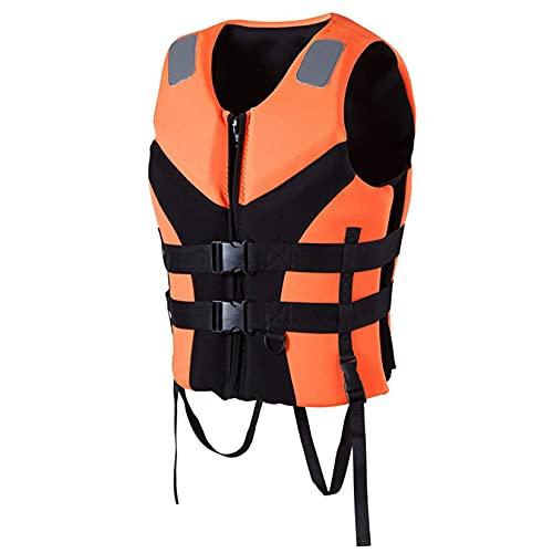 JYMEI Chaleco Salvavidas, EPE Buoyancy Pesca de algodón Chaleco Adulto Wakeboard Natación Rescate Barcos Drifting Anti-Collision Ropa Agua Deporte,Naranja,XXL