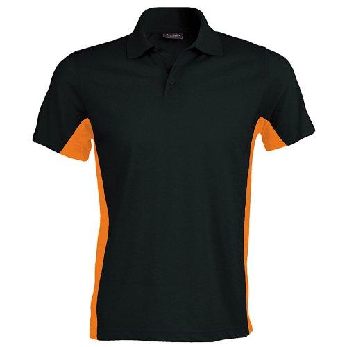 Kariban Herren Polo-Shirt Flag (XL) (Schwarz/Orange)