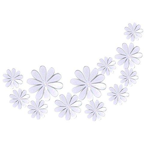 Hacoly 12 Wandaufkleber 3D Blumen Wandsticker Küche Glasfenster DIY selbstklebend Aufkleber Wandtattoo Esszimmer Wanddeko Ideal für die Dekoration Ihres Hauses - Wei?