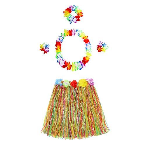 Ouken 5PCS / Set Hawaii-Hula Baströckchen Mit Blumen-Leis Hawaiianischen Kostüm Set Elastic Luau Gras Und Hawaii-Blumen-Zusätze Für Partei-Bevorzugungen (Multicolor)