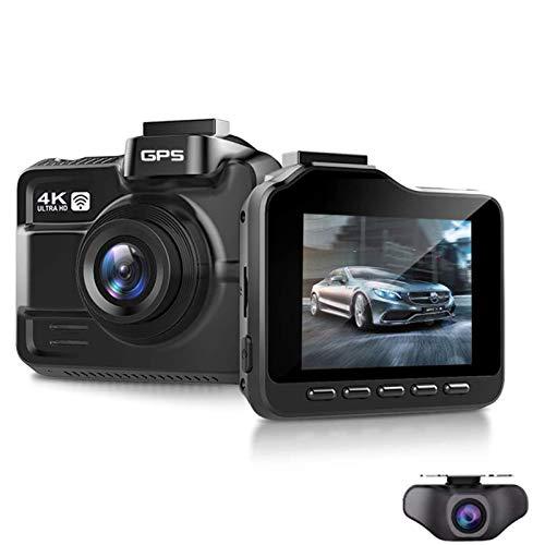 Dashcam 4K Wifi GPS, 3840x2160p Cámara Coche Dual Lente Delantera y Trasera Dash Cam con Visión Nocturna, 2.4 Pulgada IPS Pantalla, 170° Gran Angular, WDR y Detector Movimiento,With 128g card