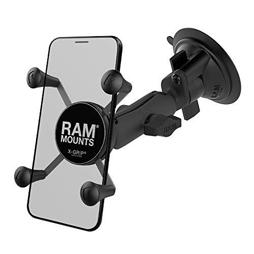 RAM Mounts X-Grip Phone Mount with Twist-Lock Suction Cup Base RAP-B-166-UN7U with Medium Arm for Vehicle Windshields