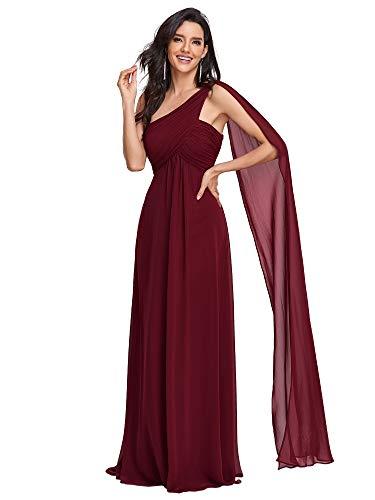 Ever-Pretty Vestidos de Noche Gasa Un Hombro Corte Imperio Plisado sin Mangas para Mujer Borgoña 42