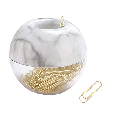 MEI YI TIAN 100pcs Gold Paper Clips Medium with Marble White Paper Clips Holder Magnetic 28mm Paper Clips for Office Supplies Desk Organizer