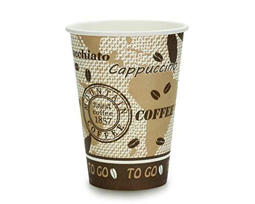 100x Kaffeebecher, Coffee to go Pappbecher, Trinkbecher mit 180 ml Füllvolumen und schöner Optik