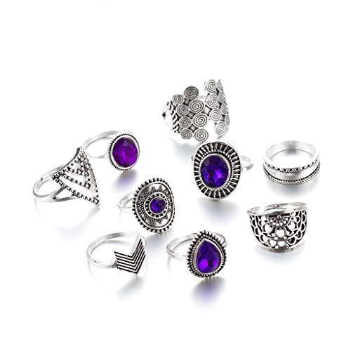 Juego de 9 anillos de plata vintage con cristales morados y anillos de dedo para los nudillos, conjunto de anillos de joyería para mujeres y niñas