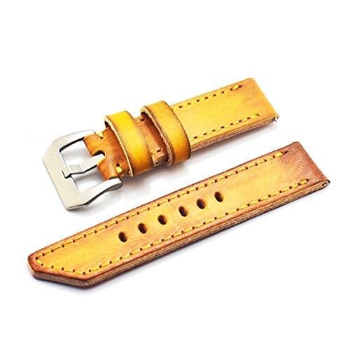 Beapet 22 mm 24 mm 26 mm Correa de Cuero Vintage Amarillo Correa Hecha a Mano Correa de Hombre Strap de Repuesto de los Hombres Pulsera de Pulsera (Size : 20mm)