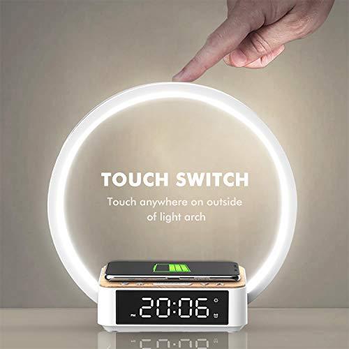 Amouhom LED Nachttischlampe, 18W Touch Control Dimmbar Tischlampe Wake Up Licht mit Wecker 10W Wireless Charger Nachtlicht & 3 Stufige Helligkeit Warmweißes Licht für Schlafzimmer Wohnzimmer…
