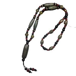 ZHIBO Tibetanischer alter Achat neun Augen Dzi Perlen Halskette
