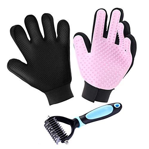 FINGER TEN Hundebürste Katzenbürste Pflegehandschuh 3 pc Haustier Hund Katze Tierhaarentferner Handschuh Massage Handschuhbürste,Bürste für Hunde und Katzen,Kämmen Sie die Geknoteten Haare (Pink)