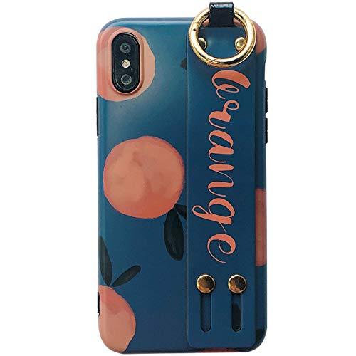Funda para teléfono móvil, protección antigolpes para iPhone 6splus / iPhone 6 Plus / 8 / funda protectora suave con soporte para pulsera, color naranja retro