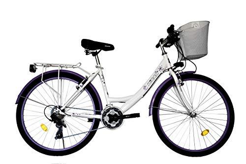 "T&Y Trade 26\"" 26 Zoll Kinder Mädchen Damen City Trekking Fahrrad Damenfahrrad Mädchenfahrrad Bike Rad Trekkingfahrrad 21 Gang Beleuchtung STVO 5100 Weiß Lila"