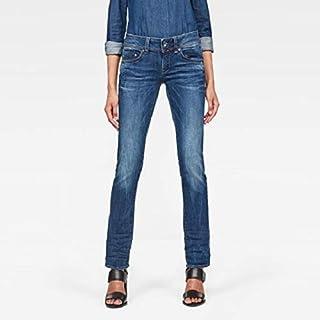G-Star RAW Womens D02153-8464-071 Midge Saddle Mid Straight Jeans in Yzzi Stretch Denim Jeans - Blue