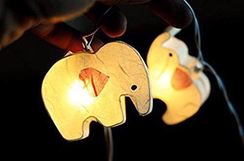 Battery AA 20 LED Handmade Colorful Elephant Zoo Animal Plant Paper Lantern String Light Kid Bedroom Light Display Garland Colorful / 20 Lights (White)