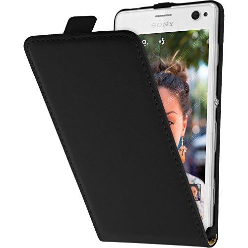 PhoneNatic Kunst-Lederhülle kompatibel mit Sony Xperia C4 / Dual - Flip-Hülle schwarz + 2 Schutzfolien