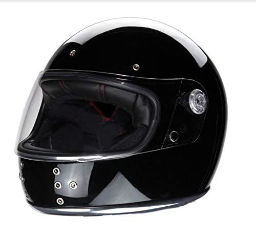 IGUANA CUSTOM - Casco de moto integral EL CANALLA de estilo retro vintage negro brillo con pantalla y decorado con canto cromado y remaches en el frontal. Homologado. (M)