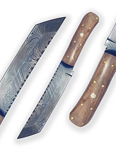 DELLINGER Tanto Walnuss & Damastmesser & Damaststahl Messer & Outdoor Jagd Damastmesser 155 mm Klinge & inklusive Lederscheide