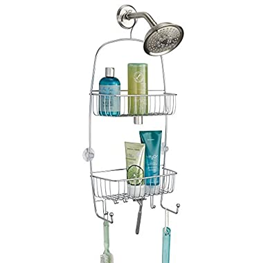 mDesign Extra-Large Hanging Shower Caddy Organizer with Hooks and Baskets – Two Tier, Silver