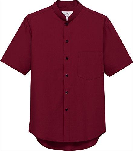 白衣 チトセ アルベ EP-6840 スタンドカラーシャツ 半袖 SS-4Lフードサービスユニフォーム (L, C-29 ワイン)