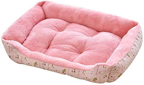 Leifeng Tower Luxury Yowablo - Perrera de arena para mascotas, tamaño pequeño y mediano, para invierno, cálida cama para perro (color: rosa, tamaño: 80 x 60 x 15 cm)