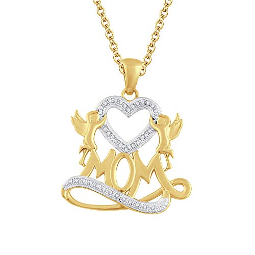 Ani's Collar con colgante de corazón de mamá de 45,7 cm con diamante de 1,35 quilates, chapado en oro amarillo de 14 quilates