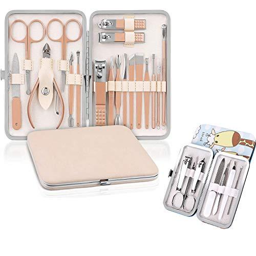 Tagliaunghie Set Professionale, Set Manicure, Pedicure Manicure Set, set manicure uomo, Kit per la cura delle unghie da donna, kit professionale per strumenti per manicure e pedicure(18+7 Pezzi)