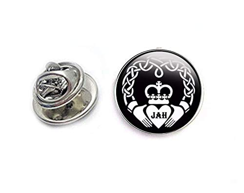 Black Celtic Claddagh Initials Tie Tack, Personalized Tie Pin