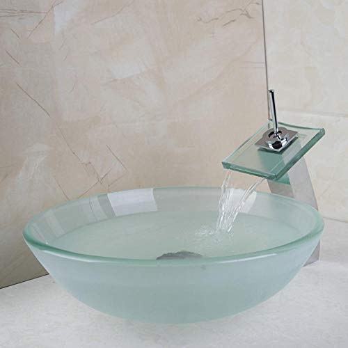 LLLYZZ New Frosted Victory glazen wastafel vierkant chroom waterval waterkraan met ronde gehard glas wastafel set