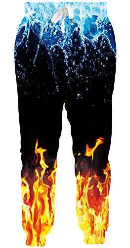 Loveternal Hosen 3D Druck Cool Jogginghose Kordelzugtaschen Wasser und Feuer Sporthosen Flamme Sweathosen Freizeithosen Elastische Manschetten XL
