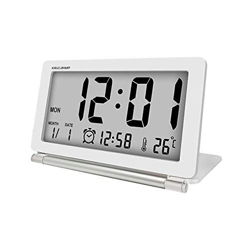 NEEPP Elektronischer Wecker Reisewecker Leiser LCD-Digital-Multifunktions-Großbild-Klapp-Schreibtischuhr Temperatur Datum Uhrzeit, Weiß