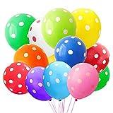 Globos de lunares, 60 globos de látex de 30 cm, varios colores de látex de lunares, globos de lunares para fiestas de niños, cumpleaños, bodas, fiestas de Pascua, fiestas de carnaval