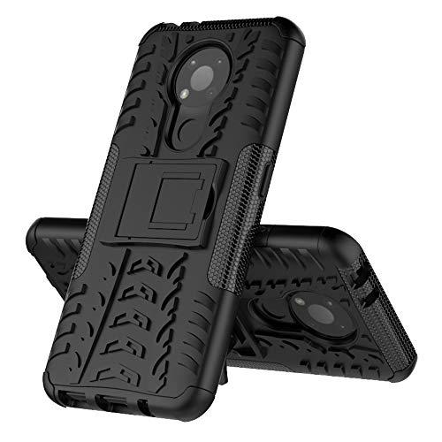 MingMing Rugged Armor Schutzhülle für Nokia 3.4 Hülle Handy Tasche Hybrid Hülle Schutz Handyhülle Panzer TPU Silikon Hard Cover Bumper für Nokia 3.4-Schwarz