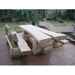 RUSTIKALE SITZGARNITUR AUS NADELHOLZ / Deutsche Handwerksqualität / 3 m- Länge / Sitzkapazität für 12 Personen / Jede Sitzgruppe ist ein Unikat / 600 kg